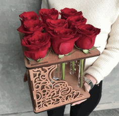Rose Flower Stand For Laser Cutting Free CDR Vectors Art