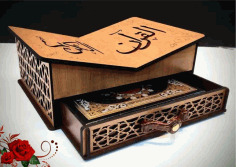 Wooden Decorative Quran Stand With Drawer For Laser Cutting Free CDR Vectors Art
