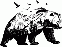Bear Wall Art Wall Decor 2 For Laser Cut Free CDR Vectors Art