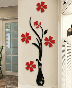 Flower Wall Art For Laser Cutting Free CDR Vectors Art