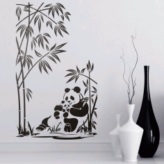 Pandas Wall Decor Wall Art For Laser Cut Free CDR Vectors Art