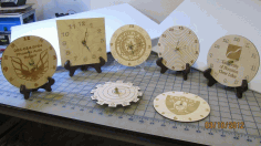 Engraved Wooden Clock With Logos For Laser Cut Free CDR Vectors Art