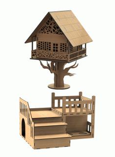 Lasercut Fantasy House For Laser Cut Free CDR Vectors Art