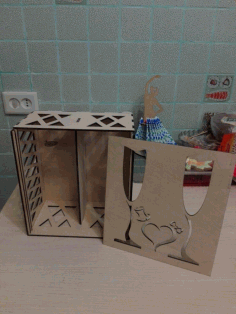Gift Box For Two Glasses For A Wedding For Laser Cut Free CDR Vectors Art