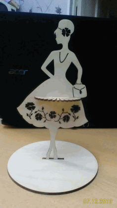 Modern Lady Napkin Holder For Laser Cut Free DXF File