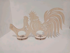 Wooden Hen Rooster Easter Egg Holder Template For Laser Cut Free CDR Vectors Art
