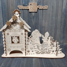 New Years Tea House For Laser Cut Free CDR Vectors Art