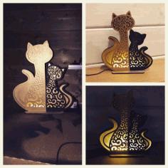 Cat And Kitten Night Light Lamp Home Decor For Laser Cut Free CDR Vectors Art