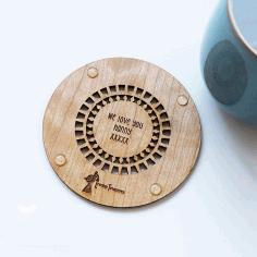 Decorative Wooden Coaster Laser Cut Free CDR Vectors Art
