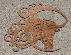 Bull Pattern Drawing For Laser Cut Free CDR Vectors Art