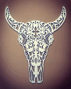 Laser Cut Bull Skeleton Free DXF File