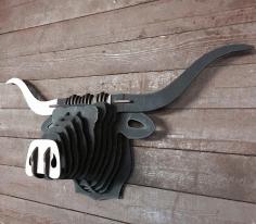 Laser Cut Buffalo Head 3d Puzzle Free CDR Vectors Art