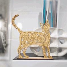 Laser Cut Cat Decoration 3d Puzzle Free CDR Vectors Art