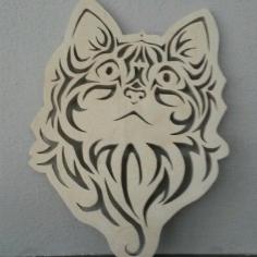 Laser Cut Cute Kitten Face Cat Stencil Free CDR Vectors Art