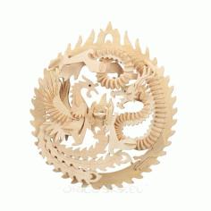 Laser Cut Dragon And Pheonex 3d Print Figure Free CDR Vectors Art