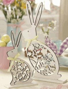 Laser Cut Easter Bunny Decoration Free CDR Vectors Art