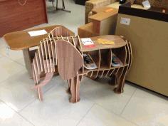 Laser Cut Elephant 3d Bookshelf Free CDR Vectors Art