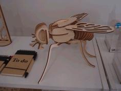 Laser Cut Fly 3d Woodcraft Hobby Wooden Model Free CDR Vectors Art