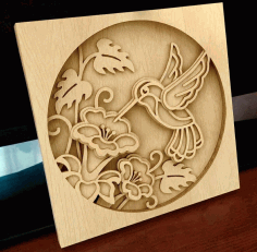 Laser Cut Hummingbird Layered Wood Art Free CDR Vectors Art