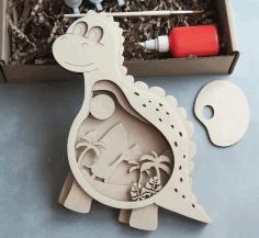Laser Cut Wooden Dino Layered Art Kids Room Decor Free CDR Vectors Art
