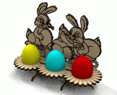 Laser Cut Wooden Easter Bunny Free CDR Vectors Art