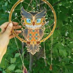 Layout Dreamcatcher Owl For Laser Cut Free CDR Vectors Art