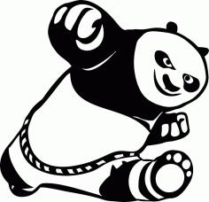 Laser Cut Car Stickers Cute Kung Fu Panda Free CDR Vectors Art