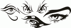 Tribal Eye Tattoo Car Stickers Free CDR Vectors Art