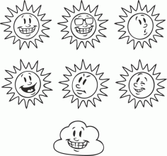 A Selection Of Solar Emotions Free CDR Vectors Art