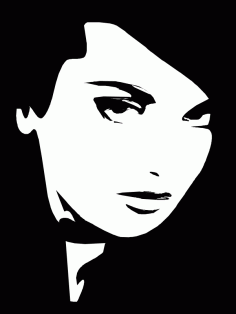 Woman face black and white Free CDR Vectors Art