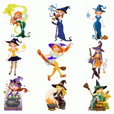 Beautiful Vector Witch For Halloween Part 2 Free CDR Vectors Art