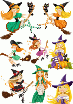 Beautiful Witches For Halloween Free CDR Vectors Art