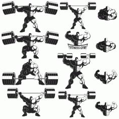 Collection Of Vector bodybuilders. Part 1 Free CDR Vectors Art