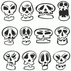 Funny Cartoon Skulls For Plotter Cutting Free CDR Vectors Art