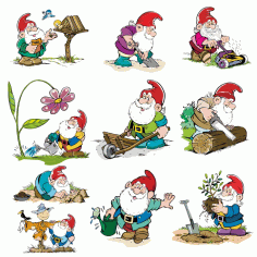 Funny Gnomes A Collection Of children's Illustrations Free CDR Vectors Art
