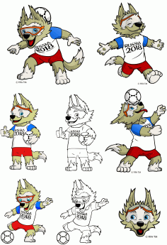 Symbol Of The World Cup 2018 Wolf Zabivaka CDR Vectors Art