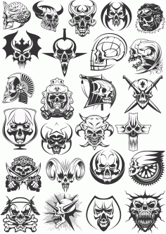 Vector Skull Patterns For Plotter Cutting Free CDR Vectors Art