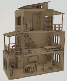 Wooden Dollhouse Layout Free CDR Vectors Art