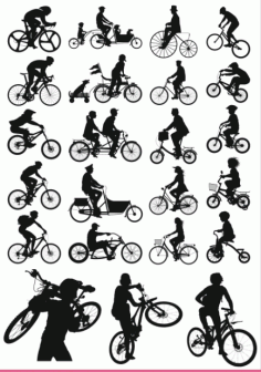 Collection of silhouettes Of Bicycle Free CDR Vectors Art