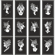 Zodiac Signs In The Form Of Female Busts Free CDR Vectors Art