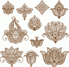 Henna Mehndi Tattoo Doodles Free CDR Vectors Art