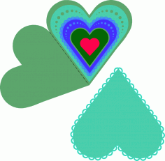 Layered Heart Fold Card Free CDR Vectors Art