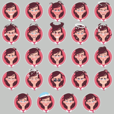 Female Emoticons Vector Collection Free CDR Vectors Art