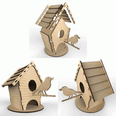 Tea House – Birdhouse Vector Layout For Laser Cutting Plywood Free CDR Vectors Art