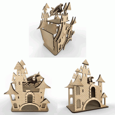 Tea House – Castle # 2 Vector Layout For Laser Cutting Free CDR Vectors Art
