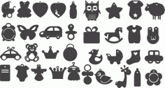 Set Black Silhouettes of Children toys Free CDR Vectors Art