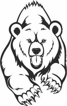 Angry bear Face Line Drawing Free CDR Vectors Art