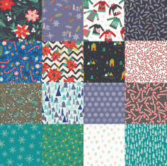 Set of Winter Patterns Free CDR Vectors Art