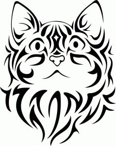 Pretty Tribal Cat Face Silhouette Free CDR Vectors Art
