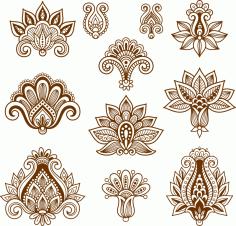 Hand drawn Abstract Henna Mehndi Free CDR Vectors Art